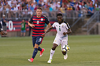 East Hartford, CT - Saturday July 01, 2017: Ebenezer Ofori, Jordan Morris during an international friendly match between the men's national teams of the United States (USA) and Ghana (GHA) at Pratt & Whitney Stadium at Rentschler Field.