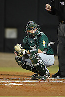 Siena Saints catcher Dave Hoffmann (25) looks to the dugout during the opening game of the season against the UCF Knights on February 13, 2015 at Jay Bergman Field in Orlando, Florida.  UCF defeated Siena 4-1.  (Mike Janes/Four Seam Images)
