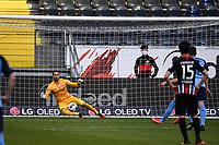 16th May 2020, Commerzbank-Arena, Frankfurt, Germany; Bundesliga football, Eintracht Frankfurt versus Borussia Moenchangladbach; Penalty taker and scorer Ramy Bensebaini Borussia Moenchengladbach from the penalty spot