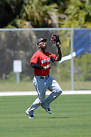 Boston Red Sox outfielder Brandon Jacobs #43 during a minor league Spring Training game against the Minnesota Twins at JetBlue Park Training Complex on March 27, 2013 in Fort Myers, Florida.  (Mike Janes/Four Seam Images)