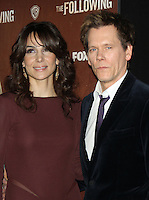 NEW YORK, NY - JANUARY 18: Annie Parisse and Kevin Bacon at the world premiere of The Following at the New York Public Library in New York City. January 18, 2013. Credit:© RW/MediaPunch Inc.