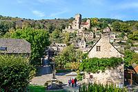 France, Aveyron, Belcastel, labelled Les Plus Beaux Villages de France (The Most Beautiful Villages of France), view on the medieval castle and the village // France, Aveyron (12), Belcastel, labellisé Les Plus Beaux Villages de France, vue sur le château médiéval et le village