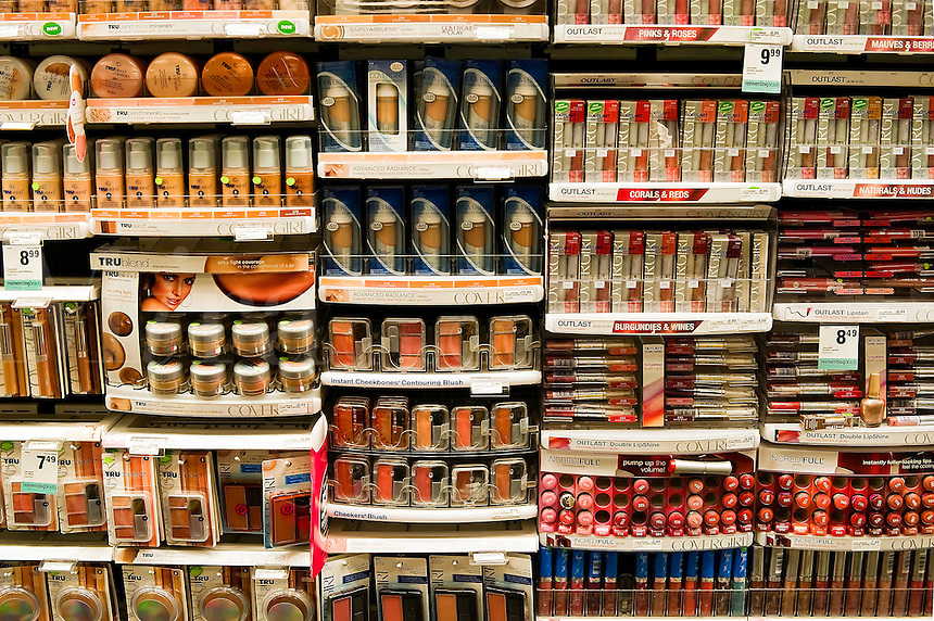 Product display in cosmetic store.