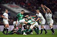 Conor Murray of Ireland box-kicks the ball. Natwest 6 Nations match between England and Ireland on March 17, 2018 at Twickenham Stadium in London, England. Photo by: Patrick Khachfe / Onside Images