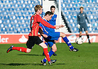 29 APR 2009 - LONDON,GBR - Ben Havey - Loughborough University (blue) v UWE Hartpury (red and black) - BUCS Mens Football Championships '09. (PHOTO (C) NIGEL FARROW)