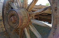 Antique Wooden Wheel at Mission San Miguel