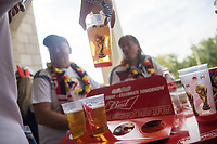 MOSCOW, RUSSIA - June 17, 2018: German fans drink some Budweiser beer before the game against Mexcio in their 2018 FIFA World Cup group stage match at Luzhniki Stadium.