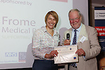 22/07/2015 GP Trainee Awards and Michael Lennard Reception 2015 hosted at The Holiday Inn, Filton, Bristol, by MDU. Dr Cathryn Dillon (Somerset) is given the Leadership award by Dr Robin While on behalf of Frome Medical Practice.