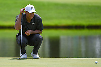 Tiger Woods (USA) lines up his putt on 3 during 2nd round of the World Golf Championships - Bridgestone Invitational, at the Firestone Country Club, Akron, Ohio. 8/3/2018.<br /> Picture: Golffile | Ken Murray<br /> <br /> <br /> All photo usage must carry mandatory copyright credit (© Golffile | Ken Murray)