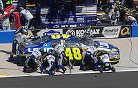 Apr 29, 2007; Talladega, AL, USA; Nascar Nextel Cup Series driver Jimmie Johnson (48) pits during the Aarons 499 at Talladega Superspeedway. Mandatory Credit: Mark J. Rebilas