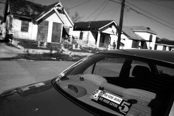 January 30, 2008. New Orleans, LA.. A sticker on a car near the recently rebuilt levee that broke and flooded the 9th Ward.