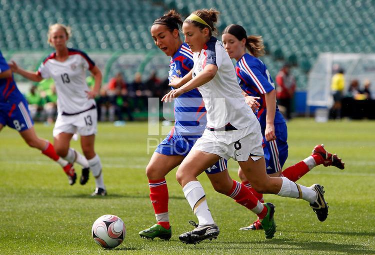 Vicki DiMartino (USA) and Kelly Gadea (FRA)..FIFA U17 Women's World Cup, USA v France, Albany Stadium, Auckland, New Zealand, Wednesday 5 November 2008. Photo: Renee McKay/PHOTOSPORT