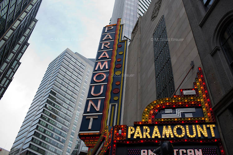 The Paramount Center stands on Washington near the Theater District and Downtown Crossing in Boston, Massachusetts, USA.