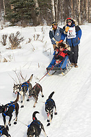 John Hessert w/Iditarider on Trail 2005 Iditarod Ceremonial Start near Campbell Airstrip Alaska SC