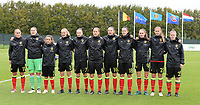 20170914 - TUBIZE ,  BELGIUM : Belgian team pictured with Janice Cayman , Justien Odeurs ,Davina Philtjens , Sarah Wijnants , Elke Van Gorp , Lenie Onzia , Nicky Van Den Abbeele , Laura De Neve , Tessa Wullaert , Julie Biesmans and Laura Deloose during the friendly female soccer game between the Belgian Red Flames and European Champion The Netherlands , a friendly game in the preparation for the World Championship qualification round for France 2019, Thurssday 14 th September 2017 at Euro 2000 Center in Tubize , Belgium. PHOTO SPORTPIX.BE | DAVID CATRY
