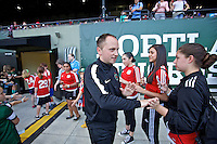 Portland, Oregon - Sunday April 17, 2016: Portland Thorns FC head coach Mark Parsons. The Portland Thorns play the Orlando Pride during a regular season NWSL match at Providence Park. The Thorns won 2-1.