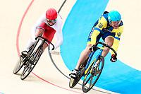 Picture by Alex Whitehead/SWpix.com - 10/12/2017 - Cycling - UCI Track Cycling World Cup Santiago - Velódromo de Peñalolén, Santiago, Chile - Ukraine's Andrii Vynokurov defeats Russia's Pavel Yakushevskiy in the Men's Sprint quarter-finals.