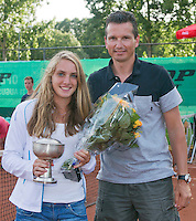 August 9, 2014, Netherlands, Rotterdam, TV Victoria, Tennis, National Junior Championships, NJK,  Prize giving, Richard Krajicek with Isolde de Jong, winner girls 16 years<br /> Photo: Tennisimages/Henk Koster