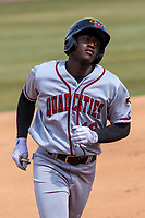 Quad Cities River Bandits outfielder Daz Cameron (16) rounds third base during a Midwest League game against the Wisconsin Timber Rattlers on April 9, 2017 at Fox Cities Stadium in Appleton, Wisconsin.  Quad Cities defeated Wisconsin 17-11. (Brad Krause/Four Seam Images)