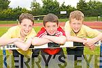 FUN DAY: Students from Gael Scoil Aogain Castleisland and Bannalec in Brittany enjoying a Sports Day at the An Riocht Track in Castleisland on Thursday last..L/r. Daniel McCarthy (Castleisland),v Cillian Hickey (Castleisland) and David Walsh (Castleisland).   Copyright Kerry's Eye 2008