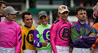 LOUISVILLE, KY - MAY 04: Jockeys line up for a photo during the Survivor's Parade on Kentucky Oaks Day at Churchill Downs on May 4, 2018 in Louisville, Kentucky. (Photo by Alex Evers/Eclipse Sportswire/Getty Images)