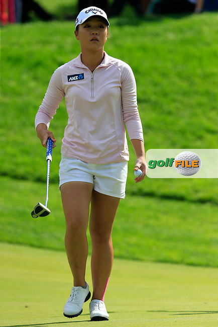 Lydia Ko (NZL) sinks her putt on the 12th green during Sunday's Final Round of the LPGA 2015 Evian Championship, held at the Evian Resort Golf Club, Evian les Bains, France. 13th September 2015.<br /> Picture Eoin Clarke | Golffile