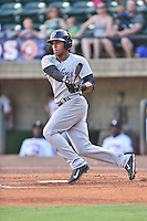 Pulaski Yankees right fielder Frank Frias (29) swings at a pitch during a game against the Greeneville Astros on July 11, 2015 in Greeneville, Tennessee. The Yankees defeated the Astros 9-3. (Tony Farlow/Four Seam Images)