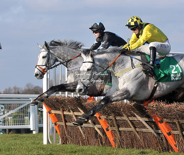 Grafite ridden by Brendan Powell (left) and Nampour ridden by Tom O'Brien. Race 3. Paddy Power Imperial Cup Handicap Hurdle (Listed Race) Cl1. Paddy Power Imperial Cup Day. Sandown Park Racecourse. Esher. Surrey. 10/03/2012. MANDATORY Credit Garry Bowden/Sportinpictures - NO UNAUTHORISED USE - 07837 394578.