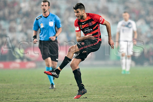April 8th 2017, ANZ Stadium, Sydney, Australia; A-League football, Western Sydney Wanderers versus Melbourne Victory; Wanderers midfielder Terry Antonis watches his shot on goal; The match  ended in a 0-0 draw;