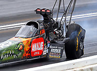 May 20, 2017; Topeka, KS, USA; Tire distortion to the car of NHRA top fuel driver Terry McMillen during qualifying for the Heartland Nationals at Heartland Park Topeka. Mandatory Credit: Mark J. Rebilas-USA TODAY Sports