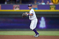 Winston-Salem Dash second baseman Nick Madrigal (4) warms-up between innings of the game against the Myrtle Beach Pelicans at BB&T Ballpark on August 6, 2018 in Winston-Salem, North Carolina. The Dash defeated the Pelicans 6-3. (Brian Westerholt/Four Seam Images)
