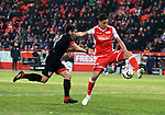 12.04.2019, Stadion an der Wuhlheide, Berlin, GER, 2.FBL, 1.FC UNION BERLIN  VS. Jahn Regensburg, <br /> DFL  regulations prohibit any use of photographs as image sequences and/or quasi-video<br /> im Bild Robert Zulj (1.FC Union Berlin #32), Oliver Hein (Jahn Regensburg #17)<br /> <br />      <br /> Foto &copy; nordphoto / Engler