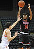 Julien Crittendon #10 of Half Hollow Hills East shoots a jumper during a non-league varsity boys basketball game against Chaminade at Nassau Coliseum in Uniondale on Sunday, Jan. 21, 2018. Hills East won by a score of 90-68.