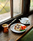 AUSTRIA, Bernstein, a copper craft of coffee and plum cake, a breakfast treat at the Burg Bernstein Castle and Hotel, Burgenland
