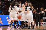 March 5, 2015; Las Vegas, NV, USA; Loyola Marymount Lions celebrates against the Pepperdine Waves during the second half of the WCC Basketball Championships at Orleans Arena.