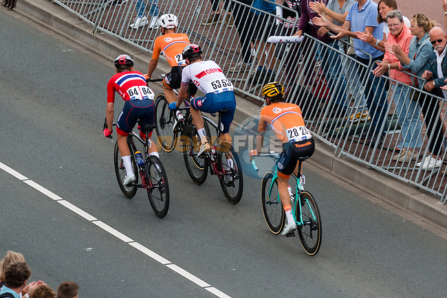 The remainder of the riders approach the finish line of the Elite Men's Road Race during the 2019 UEC European Road Championships, Alkmaar, The Netherlands, 11 August 2019.<br /> <br /> Photo by Thomas van Bracht / PelotonPhotos.com | All photos usage must carry mandatory copyright credit (Peloton Photos | Thomas van Bracht)