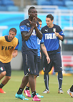 Mario Balotelli of Italy reacts during training ahead of tomorrow's Group D match vs Uruguay