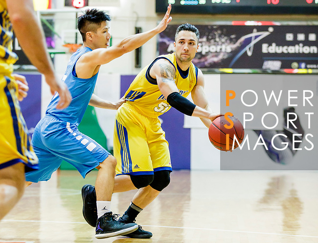 Kepkey Tyler Alexander #55 of Winling Basketball Club passes the ball  during the Hong Kong Basketball League game between Winling and Fukien at Southorn Stadium on May 29, 2018 in Hong Kong. Photo by Yu Chun Christopher Wong / Power Sport Images