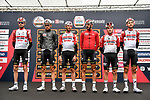 Lotto-Soudal at sign on before the start of the world's oldest classic the 100th edition of Milano-Torino running 179km from Magenta to the Basilica at Superga in Turin, Italy. 9th Octobre 2019. <br /> Picture: LaPresse | Cyclefile<br /> <br /> All photos usage must carry mandatory copyright credit (© Cyclefile | LaPresse)