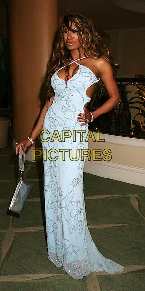 "TRACI BINGHAM.The 16th Annual ""Night of 100 Stars"" Oscar Gala, Beverly Hills, California, USA.March 5th, 2006.Photo: Byron Purvis/AdMedia/Capital Pictures.Ref: BP/ADM.Tracy full length hand on hip blue dress silver purse bag.www.capitalpictures.com.sales@capitalpictures.com.© Capital Pictures."