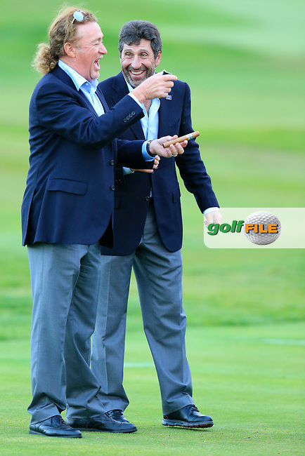 Vice Captains Jose Maria Olazabal and Miguel Angel Jimenez celebrate after Team Europe wins the Ryder Cup 16 1/2 to 11 1/2 points after Sunday's Singles Matches of the Ryder Cup 2014 played on the PGA Centenary Course at the Gleneagles Hotel, Auchterarder, Scotland.: Picture Eoin Clarke, www.golffile.ie / www.golftouri,ages.com: 28th September 2014