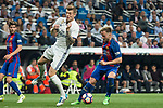Ivan Rakitic of FC Barcelona competes for the ball with Toni Kroos of Real Madrid during the match of La Liga between Real Madrid and Futbol Club Barcelona at Santiago Bernabeu Stadium  in Madrid, Spain. April 23, 2017. (ALTERPHOTOS)