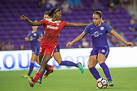 Orlando, FL - Tuesday August 08, 2017: Cheyna Williams, Monica Hickmann Alves during a regular season National Women's Soccer League (NWSL) match between the Orlando Pride and the Chicago Red Stars at Orlando City Stadium.