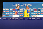 Eilidh Doyle (SCO, left) and Peter Beattie (Chairman, Gold coast 2018 Commonwealth games corporation) walk onto the stage. Team Scotland press conference. Main press centre. Gold Coast 2018. Queensland. Australia. 04/04/2018. ~ MANDATORY CREDIT Garry Bowden/SIPPA - NO UNAUTHORISED USE - +44 7837 394578