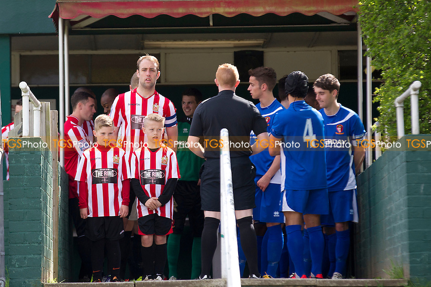 Players, Officials and Mascot gather before the Kick Off - AFC Hornchurch vs Hayes & Yeading - Blue Square Conference South Football at The Stadium - 27/04/13 - MANDATORY CREDIT: Ray Lawrence/TGSPHOTO - Self billing applies where appropriate - 0845 094 6026 - contact@tgsphoto.co.uk - NO UNPAID USE.