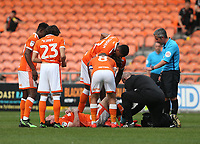 Matty Virtue lies injured after a tackle by Fleetwood Town's Nathan Sheron which resulted in a red card for the offender<br /> <br /> Photographer Stephen White/CameraSport<br /> <br /> The EFL Sky Bet League One - Blackpool v Fleetwood Town - Monday 22nd April 2019 - Bloomfield Road - Blackpool<br /> <br /> World Copyright © 2019 CameraSport. All rights reserved. 43 Linden Ave. Countesthorpe. Leicester. England. LE8 5PG - Tel: +44 (0) 116 277 4147 - admin@camerasport.com - www.camerasport.com