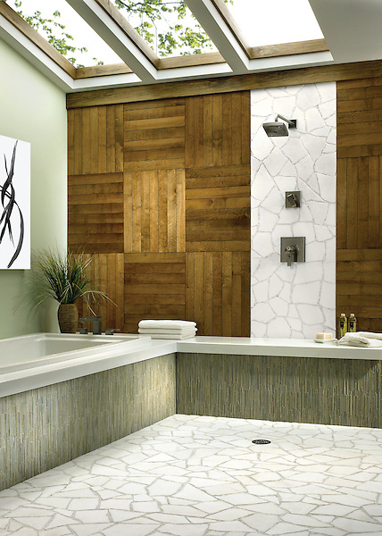 Path marble mosaic shower wall and bathroom floor in Calacatta Tia and Thassos with Tatami mosaic in Chartreuse trim