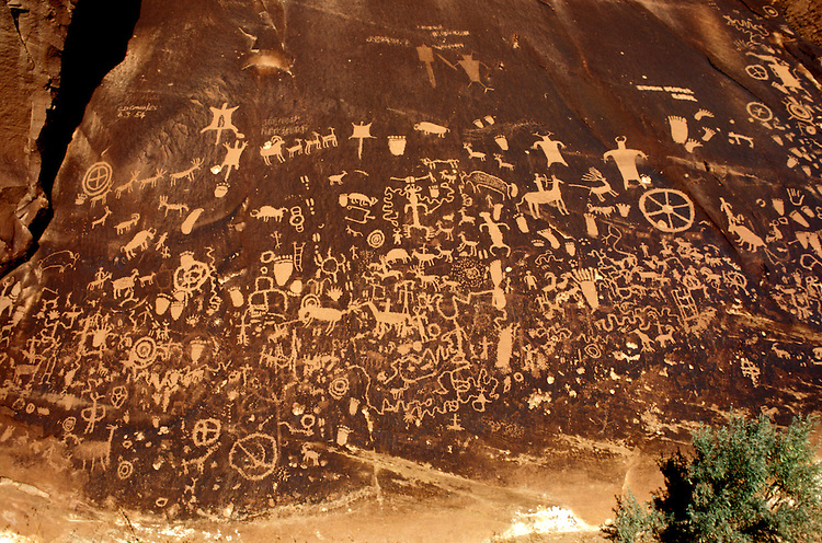 UT: Utah; Canyonlands National Park, Petroglyphs, Newspaper Rock   .Photo Copyright: Lee Foster, lee@fostertravel.com, www.fostertravel.com, (510) 549-2202.Image: utcany205