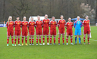 20150404 - FORST , GERMANY  :  Belgian team pictured with Jana Vanhauwaert (1) , Jody Vangheluwe (2) , Silke Vanwynsberghe (3) , Bieke Vandenbussche (4) , Chloe Van Mingeroet (5) , Tine De Caigny (6) , Margaux Van Ackere (7) , Chloe Vande Velde (8) , Amber Maximus (9) , Isabelle Iliano (10) and Tabitha Lingier (14) during the soccer match between Women Under 19 teams of Belgium and Ukraine , on the first matchday in group 5 of the UEFA Elite Round Women Under 19 at WaldseeStadion , Forst , Germany . Saturday 4th April 2015 . PHOTO DAVID CATRY
