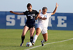 BROOKINGS, SD - August 19:  Annie Williams #23 from South Dakota State battles for the ball with Jessica Brooksby #3 from Utah State during the first half of their match at Fischback Soccer Field in Brookings. (Photo by Dave Eggen/Inertia)